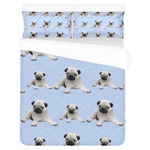 Pugs and Bones - Light Blue 3-Piece Bedding Set