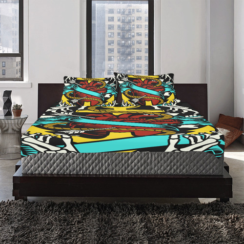 Heart And Anchor Modern 3-Piece Bedding Set