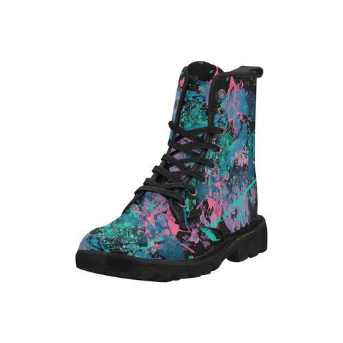 Graffiti II Splatter Collection Martin Boots for Women (Black) (Model 1203H)