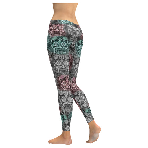 Skulls 1117D by JamColors Low Rise Leggings (Invisible Stitch) (Model L05)