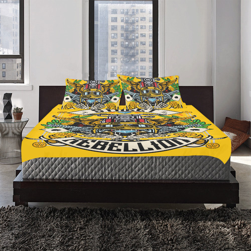 Street Rebellion Modern Yellow 3-Piece Bedding Set