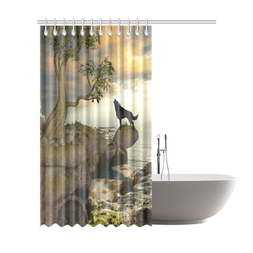 The Lonely Wolf On A Flying Rock Shower Curtain