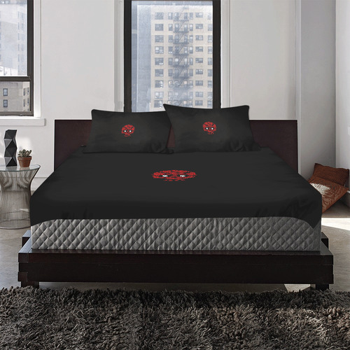 DF Rose Skull 3-Piece Bedding Set