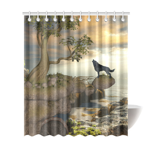 The Lonely Wolf On A Flying Rock Shower Curtain 72x84
