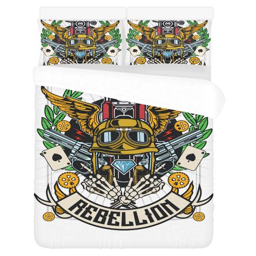 Street Rebellion Modern White 3-Piece Bedding Set