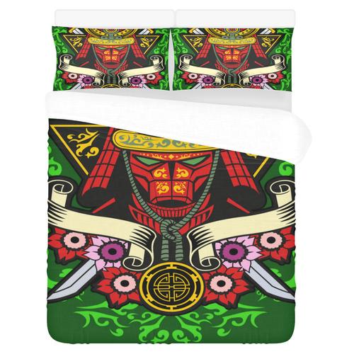 Samurai Modern Green 3-Piece Bedding Set