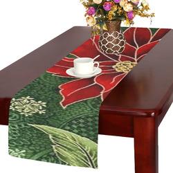 Elegant Christmas Poinsettia Table Runner 14x72 Inch