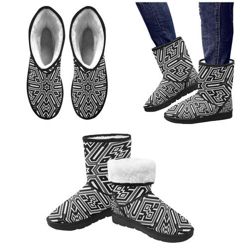 Black And White Tribal Custom High Top Unisex Snow Boots (Model 047)