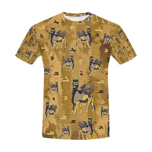 Assyrian Lamassu Alphabet Shirt All Over Print T-Shirt for Men (USA Size) (Model T40)