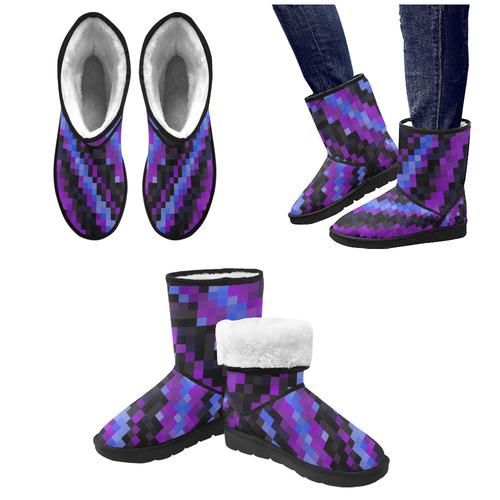 black blue purple pixel art Custom High Top Unisex Snow Boots (Model 047)