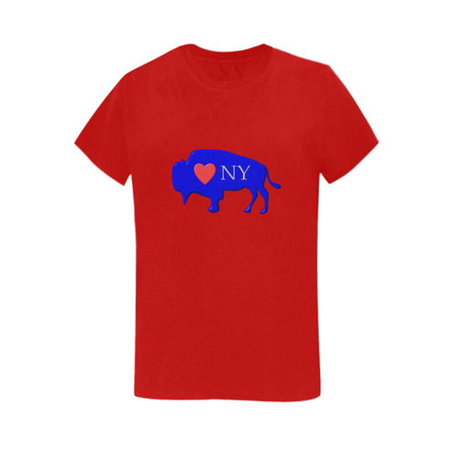 I Love Buffalo NY in Red White and Blue on Rambunctious Red Women's T-Shirt  in USA Size (Two Sides Printing)