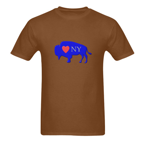 I Love Buffalo NY in Red White and Blue on Dark Chocolate Brown Men's  T-Shirt in USA Size (Two Sides Printing)