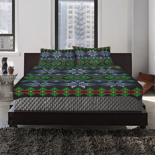 Ugly Christmas Sweater Knit, Christmas 3-Piece Bedding Set