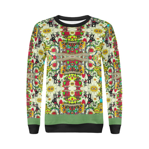 Chicken monkeys smile in the hot floral nature All Over Print Crewneck Sweatshirt for Women (Model H18)