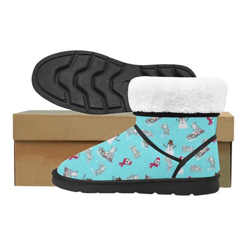 Snow days - lght blue Custom High Top Unisex Snow Boots (Model 047)