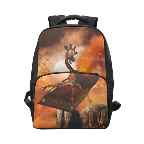 Flying giraffe on a rug Unisex Laptop Backpack (Model 1663)