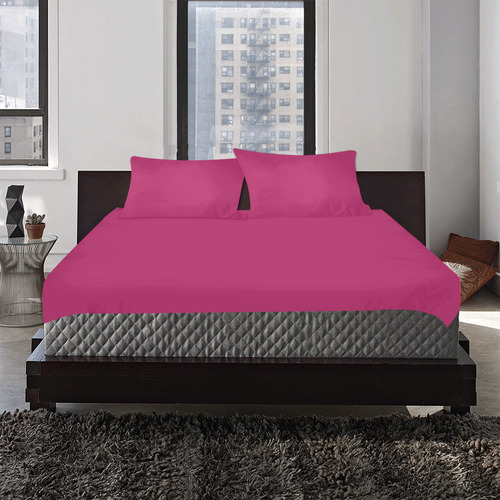 Designer Color Solid Maroon Flush 3-Piece Bedding Set