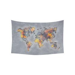 world map grey map worldmap cotton linen wall tapestry