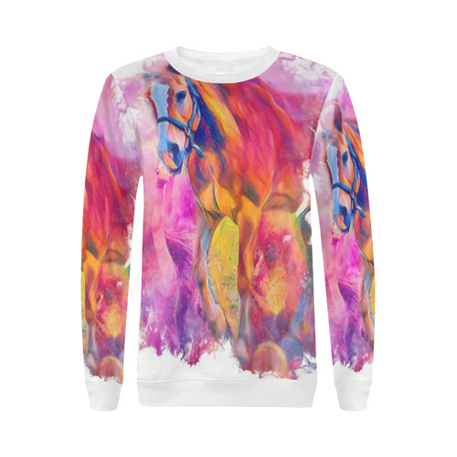 Painterly Animal - Horse by JamColors All Over Print Crewneck Sweatshirt for Women (Model H18)
