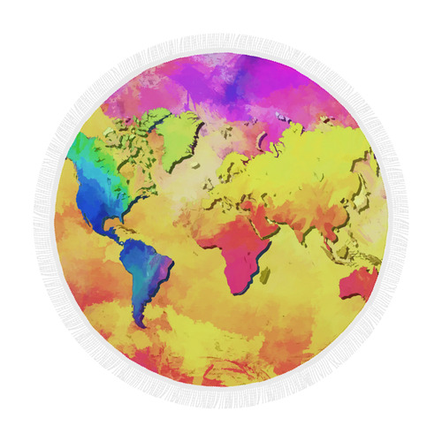 world map colors #map #worldmap Circular Beach Shawl 59