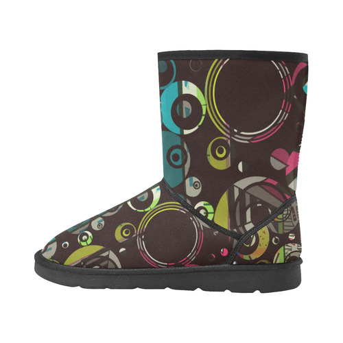 Circles texture Custom High Top Unisex Snow Boots (Model 047)