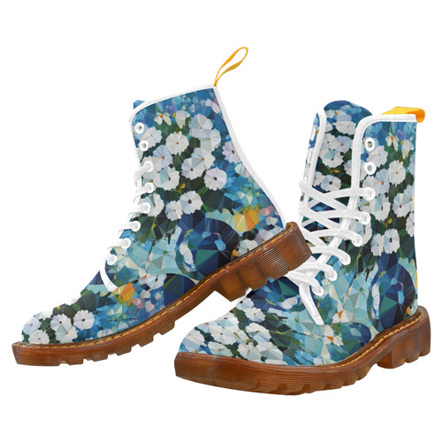 White Flowers Blue Vase Low Poly Art Martin Boots For Women Model 1203H