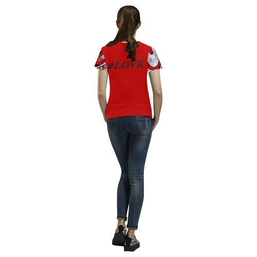 RedLOVE All Over Print T-Shirt for Women (USA Size) (Model T40)