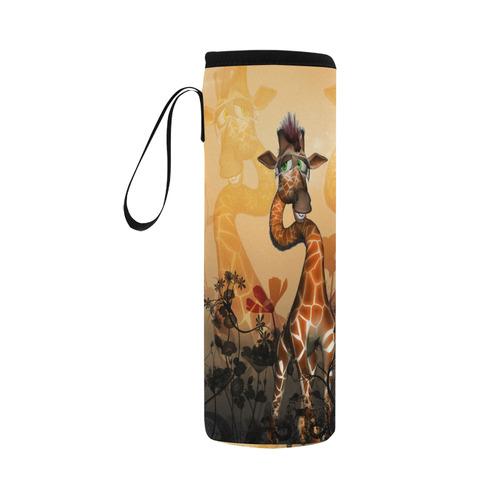 Funny, sweet giraffe Neoprene Water Bottle Pouch/Large
