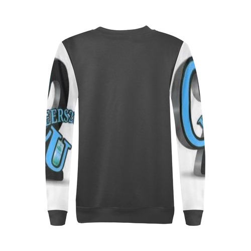 LogoBLUEBLK All Over Print Crewneck Sweatshirt for Women (Model H18)