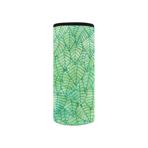 Green foliage watercolor Neoprene Water Bottle Pouch/Small