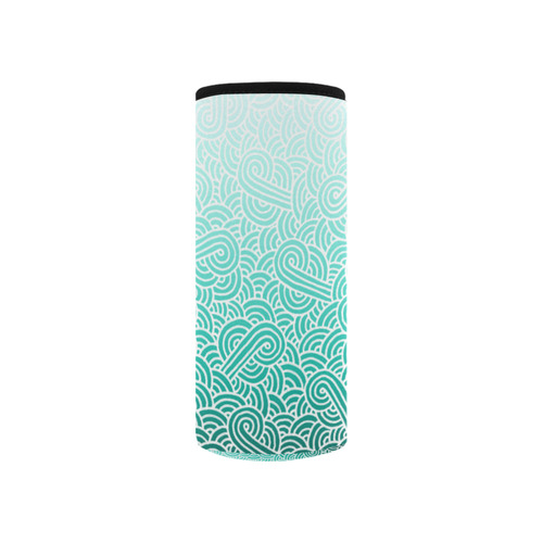 Ombre turquoise blue and white swirls doodles Neoprene Water Bottle Pouch/Small