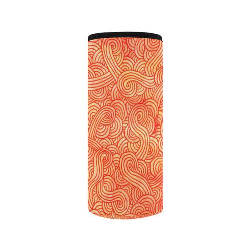Orange and red swirls doodles Neoprene Water Bottle Pouch/Medium