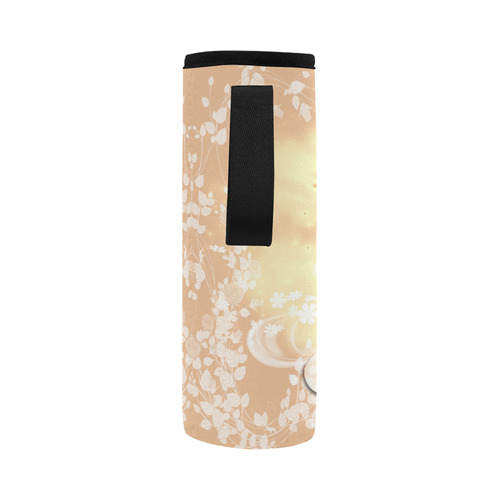 Sweet geiraffe with flowers Neoprene Water Bottle Pouch/Large