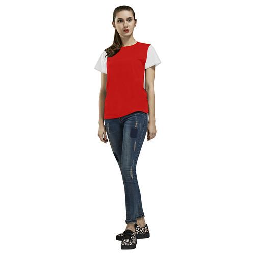 c2uRedwht All Over Print T-Shirt for Women (USA Size) (Model T40)