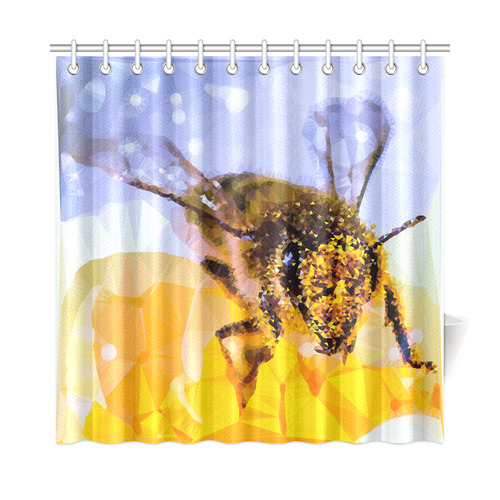 Honey Bee Pollen Geometric Low Poly Triangles Shower Curtain 72x72