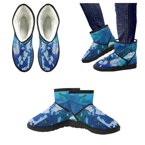 Orca Whale Marvels at the Melting Ice, Environment Low Top Unisex Snow Boots (Model 049)