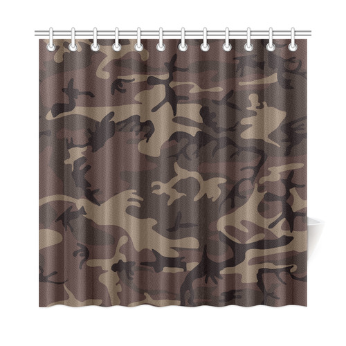 Camo Red Brown Shower Curtain 72x72
