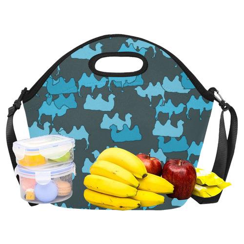 camelflage blue Neoprene Lunch Bag/Large (Model 1669)