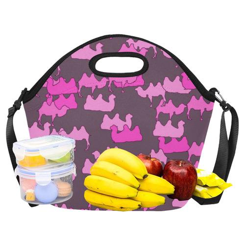 camelflage pink Neoprene Lunch Bag/Large (Model 1669)