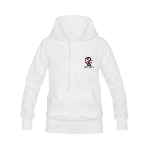 whit big pink logo Women's Classic Hoodies (Model H07)