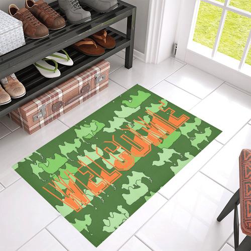 """camelflage green, Welcome Azalea Doormat 30"""" x 18"""" (Sponge Material)"""