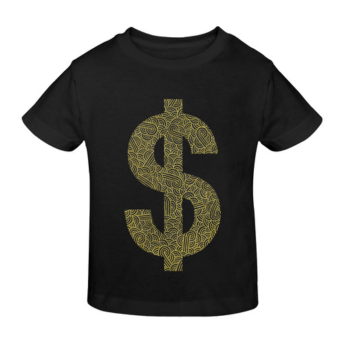 Faux gold and black swirls doodles dollar Sunny Youth T-shirt (Model T04)