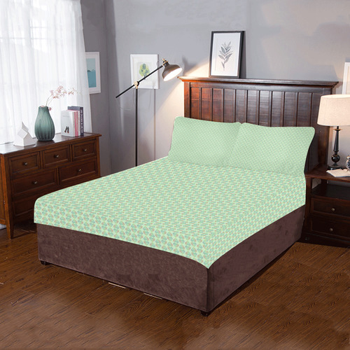 PAW HEARTS GREEN 3-Piece Bedding Set