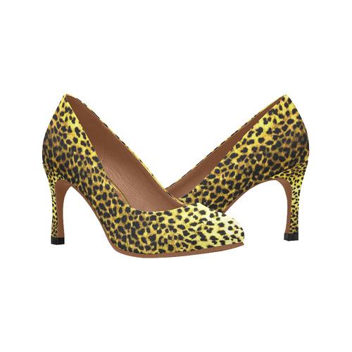 LEOPARD faux fur animal print Women's High Heels (Model 048)