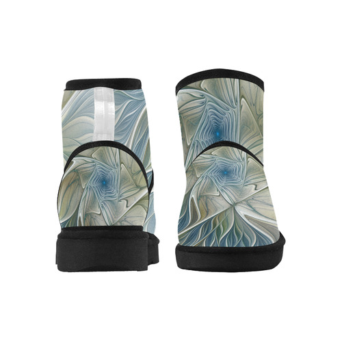 Floral Fantasy Pattern Abstract Blue Khaki Fractal Low Top Unisex Snow Boots (Model 049)