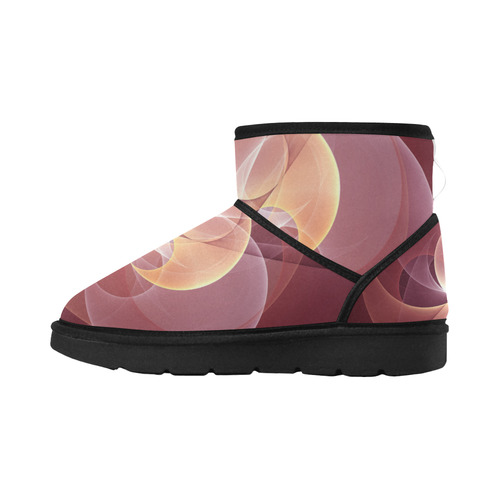 Movement Abstract Modern Wine Red Pink Fractal Art Low Top Unisex Snow Boots (Model 049)
