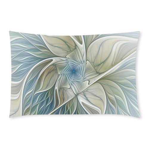 Floral Fantasy Pattern Abstract Blue Khaki Fractal 3-Piece Bedding Set