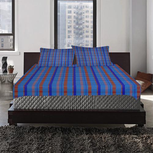 Royal Blue Plaid Style 3-Piece Bedding Set