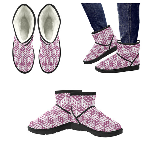 3D Pattern Lilac Pink White Fractal Art 2 Low Top Unisex Snow Boots (Model 049)