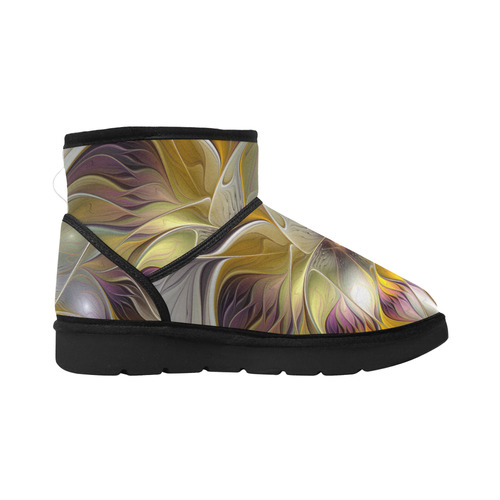 Abstract Colorful Fantasy Flower Modern Fractal Low Top Unisex Snow Boots (Model 049)